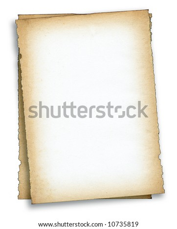 two pieces of old paper against white background, edges are very frayed - stock photo