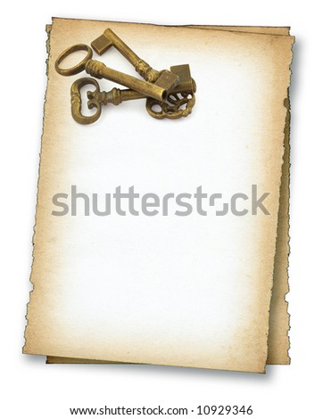 two pieces of old paper with old keys on white, edges are very frayed - stock photo