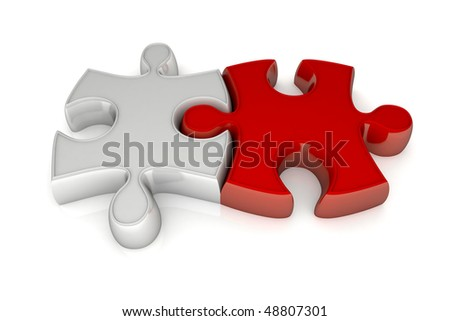 Two pieces of puzzle in connection between they