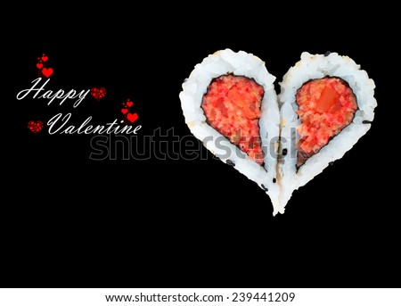 Two pieces of sushi forming the heart shape, Happy Valentine day - stock photo