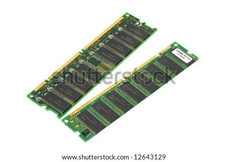 Two pieces of Synchronous Dynamic Random Access Memory (SDRAM) on white background.