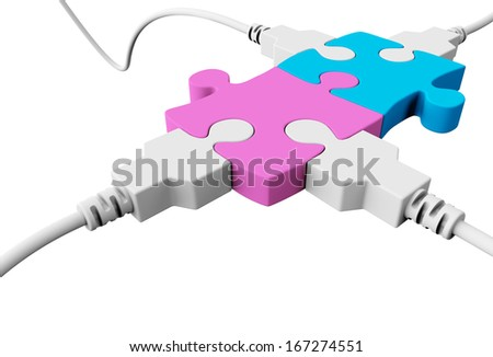 Two pieces of the puzzle are joined together and both are connected to the usb cables  - stock photo