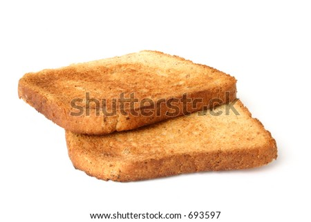 two pieces of toast - stock photo
