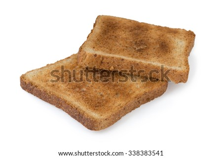 Two pieces of toast isolated on white background (clipping path) - stock photo