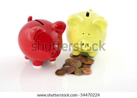 Two piggy banks are saving money