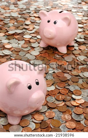 Two piggy banks over coins - stock photo