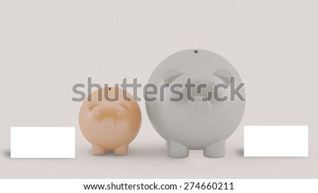 two piggy with white card, investing and saving business concept - stock photo