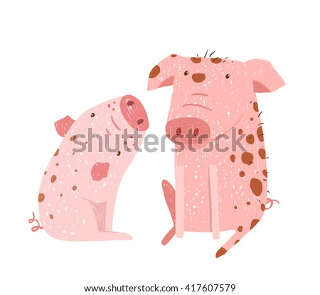 Two Pigs Parent and Child Cartoon. Two domestic animals childish hand drawn illustration. - stock photo