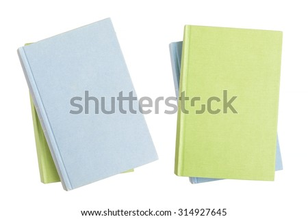 Two pile of isolated books with empty covers, clipping path - stock photo