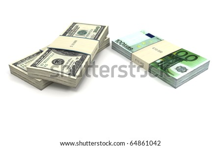 Two piles of dollars and one pile of euros. Isolated objects on white background. - stock photo