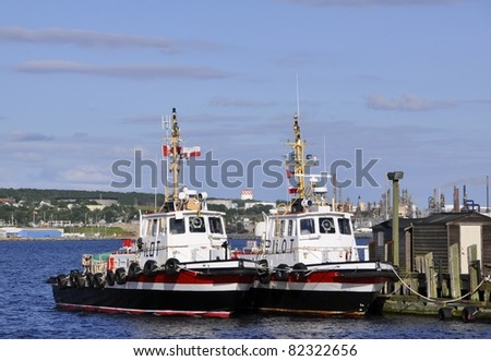 two Pilot boats anchored at the Pier at the Halifax Harbour, Nova Scotia Canada