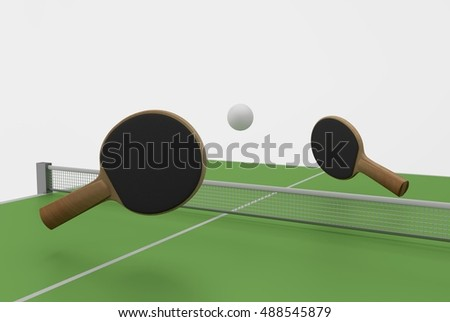 two ping pong rackets, ball and table, 3D Rendering