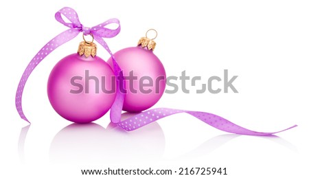 Two pink Christmas ball with ribbon bow Isolated on white background - stock photo