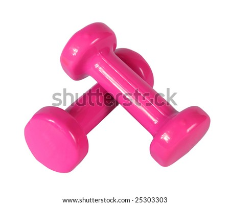 Two pink dumb-bell on a white background - stock photo