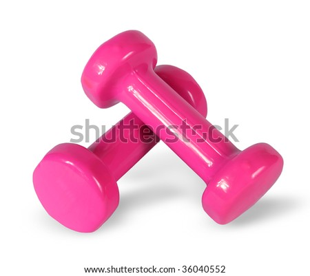 Two pink dumb-bell on the white background - stock photo
