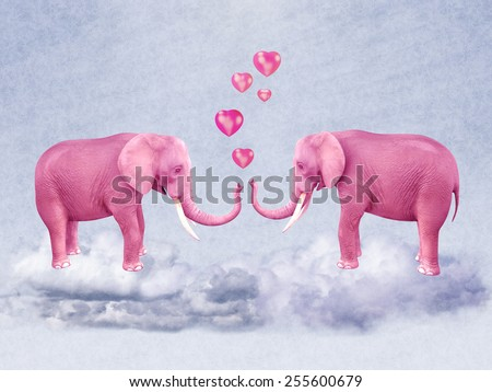 Two pink elephants in love. Illustration - stock photo