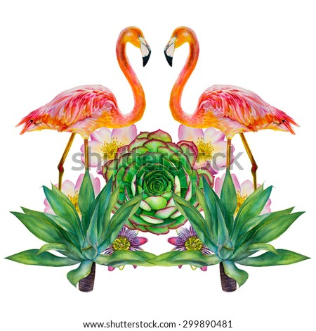 Two pink flamingo in love standing in the background of tropical plants and exotic flowers. Mirror image isolated on a white background. Reflected picture. Hand-drawn watercolor drawing. - stock photo