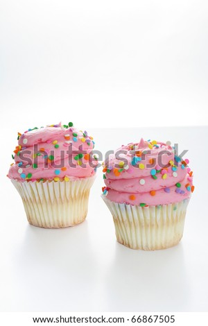 Two pink gourmet cupcake isolated on white vertical