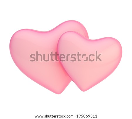 Two pink hearts composition isolated over the white background - stock photo
