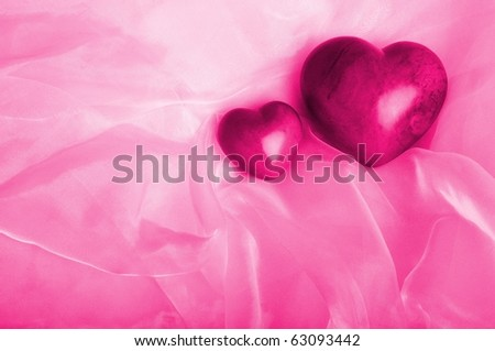 Two pink hearts - Wedding concept