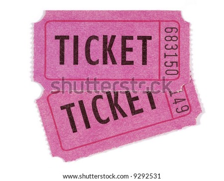Two pink or purple movie or raffle tickets isolated on white background.