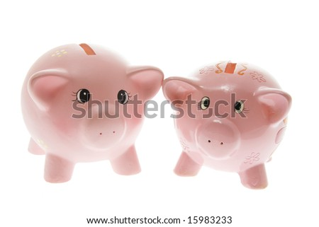 Two Pink Piggy Banks on White Background