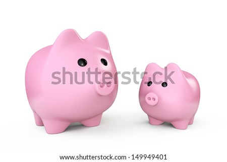 Two Pink Piggy banks style money boxes on a white background