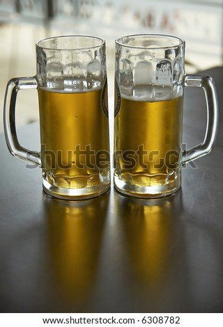 two pints of beer - stock photo