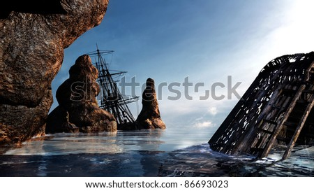 Two pirate ships, wrecked along the rocky coast. Shallow water, blue sky, light clouds sunny. Illustration - stock photo