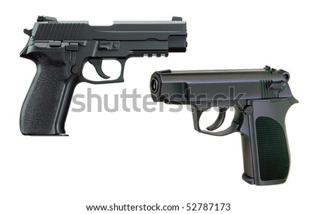 Two pistols on a white background