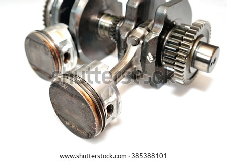 Two piston motorcycle engine isolated on white background. - stock photo