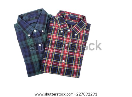 Two Plaid Shirts Isolated on White - stock photo