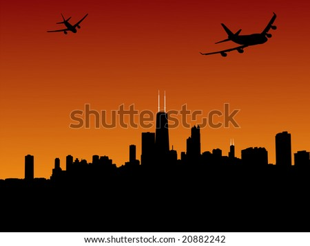 two planes leaving Chicago at sunset illustration JPEG - stock photo