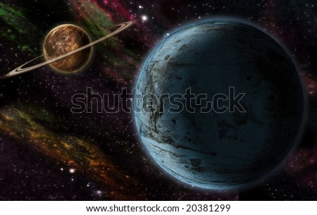 two planet in outer space - stock photo