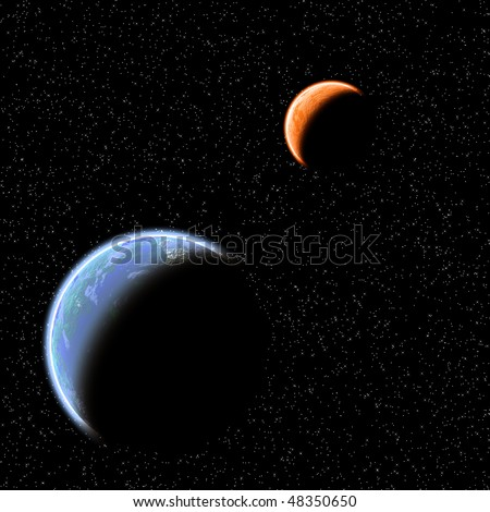Two planets  (blue and orange) on  starry sky background.