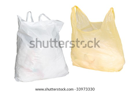 Two plastic bags under the white background