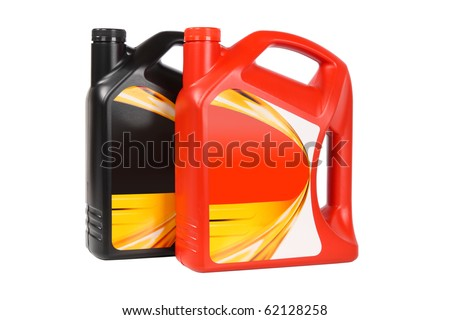 two plastic bottle of engine oil on white background - stock photo