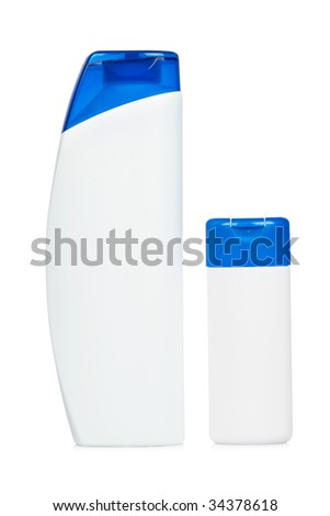 Two plastic bottle with soap or shampoo without label isolated on white background - stock photo