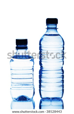Two plastic bottles of water isolated on white background