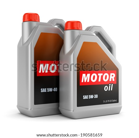 Two plastic canisters of motor oil with label isolated on white background - stock photo