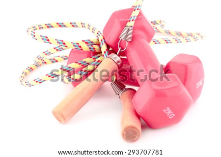 Two plastic coated dumbells and skipping rope isolated on white background. - stock photo