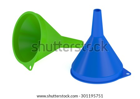 two plastic funnel isolated on white background - stock photo