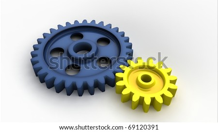 Two plastic gear wheels isolated on white