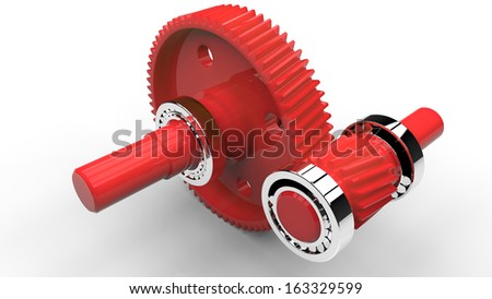Two plastic gears and balls bearings isolated on white background - stock photo
