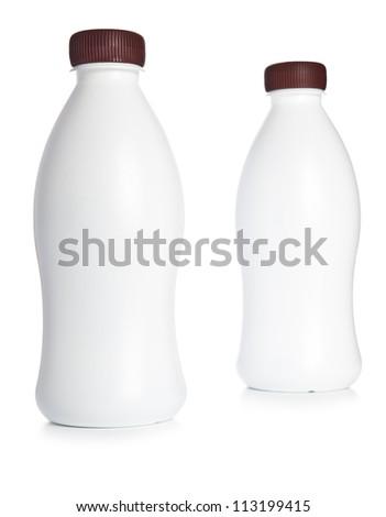 Two  plastic milk bottle - stock photo