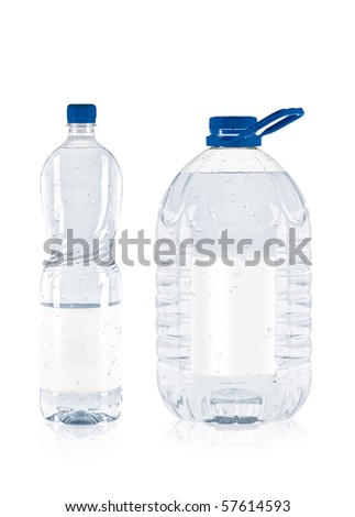 two plastic water bottle isolated - stock photo