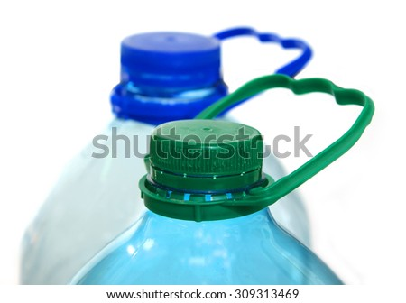 Two plastic water bottles - stock photo