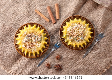 Two plates with halva from above - stock photo