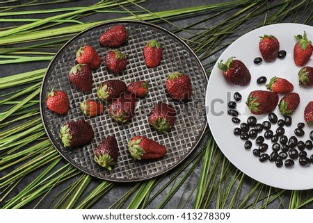 Two plates with strawberries on a dark background and the grass, top view - stock photo
