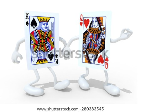 two playing cards with arm and legs that walk hand in hand, isolated 3d illustration - stock photo